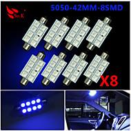 8x modrá 41milimetrů 5050 8smd podlouhlá stránka kopule interiér vedl žárovky de3423 6418