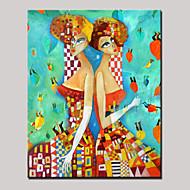 håndmalede skønhed tvillingepiger abstrakt portræt moderne oliemaleri på lærred med ramme klar til at hænge