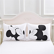 mickey mouse Love Decorative Pillow Case Cute Design Cotton Standard Pillowcase Home Gift 50cmx75cm One Pair