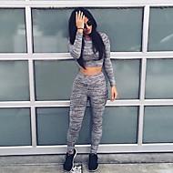 Women's Round Collar Exposed Navel Gray Short T-shirt Clothing Sets