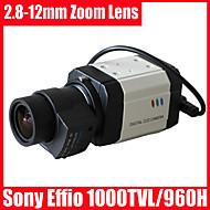 CCTV Sony Effio câmera de segurança caixa de auto lente de íris CCD 1000tvl 960H osd 2.8-12mm