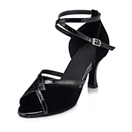 Non Customizable Women's Dance Shoes Latin Suede / Leather Flared Heel Black