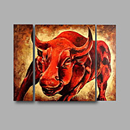Ready to Hang Stretched Hand-Painted Oil Painting on Canvas Wall Art  Animals Bull Abstract Home Deco Three Panels