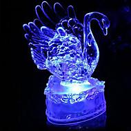 6×10センチメートルクリスマス白鳥ロマンチックなカラフルなクリスタルの小さな夜の光は、ランプ1個を主導