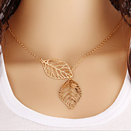 Retro Sen metal Colorful Leaf Necklace