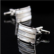 Fashion Copper Men Gift Jewelry Silver Plated Square Natural Seashell Shirt Button Cufflinks(1Pair)