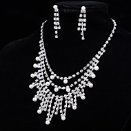 Women's Silver Crystal Multilayer Statement Necklace & Earrings for Wedding Party