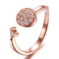 S925 Fine Silver /18k Rose Golden AAA Zircon Open Ring for Wedding Party Fine Jewelry