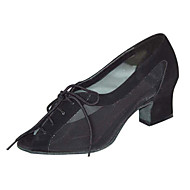 Chaussures de danse(Noir Marron) -Non Personnalisables-Talon Bottier-Satin Similicuir-Moderne