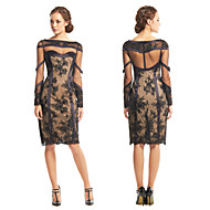 TS Couture® Cocktail Party Dress - Black Sheath/Column Bateau Knee-length Lace / Tulle