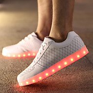 Femme-Décontracté-Blanc-Talon Plat-Confort Light Up ChaussuresCuir