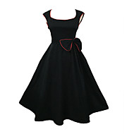 Women's Party / Vintage Solid A Line / Ball Gown Dress , U Neck Knee-length Cotton / Spandex