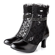 Latin Women's Dance Shoes Boots First Layer Leather Lace Stiletto Heel Black
