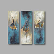Ready to Hand Stretched Framed Hand-Painted Oil Painting Three Panels Canvas Wall Art Modern Dancers Blue