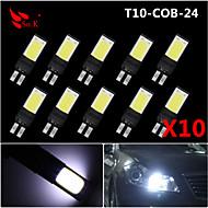 10x mejor W5W T10 194 168 6w mazorca llevó la lámpara lateral de cuña bombilla de luz blanca 12v ultra brillantes