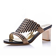Women's Shoes Synthetic Chunky Heel Heels / Peep Toe / Comfort Sandals / Slippers Dress / Casual Black / Gold