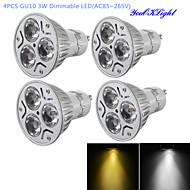 3W GU10 Lâmpadas de Foco de LED R63 3 LED de Alta Potência 300 lm Branco Quente / Branco Frio Regulável / Decorativa AC 85-265 V 4 pçs