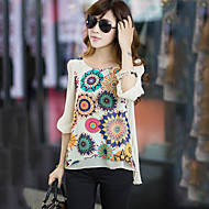Women's Print Micro-elastic ½ Length Sleeve Regular Blouse (Chiffon) (More Colors)