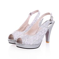 Women's Shoes  / Glitter Stiletto Heel Heels / Peep Toe / Platform Sandals Office & Career / Dress /  Red / Silver /