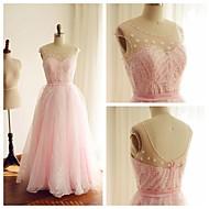 Formal Evening Dress - Blushing Pink A-line Scoop Floor-length Organza