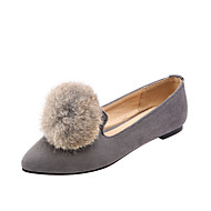 Women's Shoes Fleece Summer / Pointed Toe Flats Outdoor / Office & Career / Casual Flat Heel Fur Black / Red / Gray