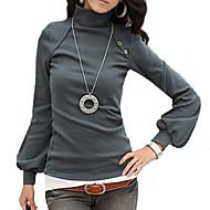 Enfärgad Långärmad T-shirt Kvinnors Polokrage Bomull