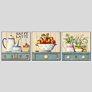 מצויר ביד טבע דומם / פרחוני/בוטנימודרני / סגנון ארופאי שלושה פנלים בד ציור שמן צבוע-Hang For קישוט הבית