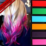 6 Stick Disposable Hair Colouring Crayon Pen Gradient Hair Chalk Dying Temporary Hair Colour Dye Salon Kit Soft Pastel