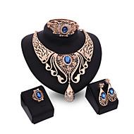Jóias 1 Par de Brincos 1 Bracelete Colares Anéis Cristal Casamento Festa Liga 1 Conjunto Feminino Vermelho Azul ChampanhePresentes de