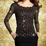 Women's Lace Blue  Black Blouse , Round Neck  Asymmetrical Long Sleeve
