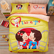 Sweet Love, Full Cotton 3D Printing Cartoon Bedding Set 4PC, Queen King Size