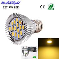 YouOKLight® 1PCS E27 7W 600lm 15*SMD5630 Warm White 3000K High quality LED Spotlight (AC110-120V/220V-240V)