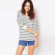 Mulheres Camiseta Casual Moda de Rua Outono,Listrado Branco Algodão Decote Redondo Manga Longa Opaca
