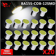 20x Super Bright White COB LED SMD Ba15s 1156 Car Rear Turn Light Signal  Bulb 12V