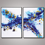 2 Panels Framed Blue Abstract Painting Picture Print on Canvas with Black Frame Modern Wall Art Ready to Hang