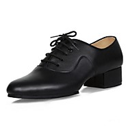 Non Customizable Men's Dance Shoes Leather Leather Latin Heels Chunky Heel Beginner / Professional / Performance Black
