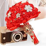 """פרחי חתונה עגול ורדים זרים חתונה סאטן / סאטן אלסטי / אבן ריין 7.09""""(לערך.18ס""""מ)"""