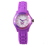 Women's Fashion Watch Casual Watch Water Resistant / Water Proof Quartz Silicone Band Cartoon Butterfly Purple Strap Watch