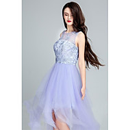 Cocktail Party Dress Ball Gown Scoop Floor-length Tulle with Appliques