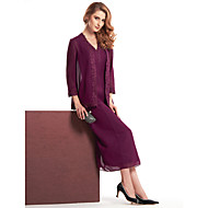 Lanting Sheath/Column Mother of the Bride Dress - Grape Tea-length 3/4 Length Sleeve Chiffon