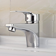Contemporary Deck Mounted Ceramic Valve Single Handle One Hole with Chrome Bathroom Sink Faucet