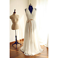 A-line Wedding Dress - Ivory Sweep/Brush Train Halter Chiffon / Lace