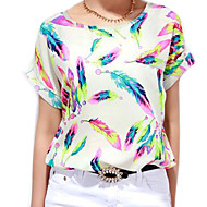 Women's Chiffon Batwing Sleeve Floral Print Tops Blouse T-Shirt Plus Size