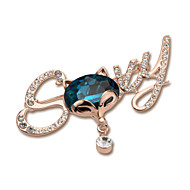 Trendy Fashion Europe United State Jewelry Vintage Women Full of Rhinestone Carton Cat Jewelry Crystal Brooch X30011