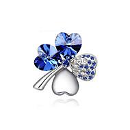 de haute qualité plaqué or nouveau mode / argent cristal autrichien élégantes quatre feuilles broches coeur de trèfle broches bijoux