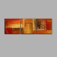 Hånd-malede Abstrakt Vandret Panoramic,Moderne Tre Paneler Kanvas Hang-Painted Oliemaleri For Hjem Dekoration