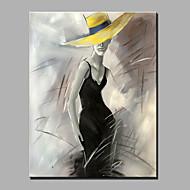 Pintada a mano Personas Vertical,Modern Un Panel Lienzos Pintura al óleo pintada a colgar For Decoración hogareña