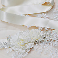 Sateng Bryllup / Fest/aften / Hverdag Sash-Paljetter / Perler / Appliquéer / Blomster Dame 98.5 tommer (ca. 250cm)Paljetter / Perler /