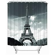 Eiffel Tower High Quality Fashion Modern Waterproof Anti Enzyme Shower Curtain