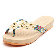 Women's Summer Slippers Canvas Casual Low Heel Flower Black / Blue / Pink